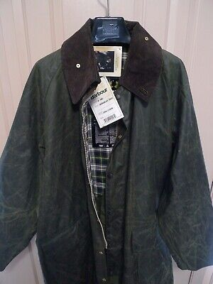 BARBOUR- A160 BURGHLEY WAXED COTTON COAT -SAGE-NEW OLD STOCK & TAG -MADE@UK -44
