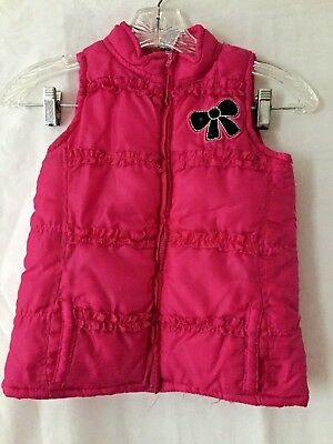 Young Hearts  Girl's size 6 Hot Pink Puffer Zip Up Vest Embellished Black - Hot Young Teen Girls
