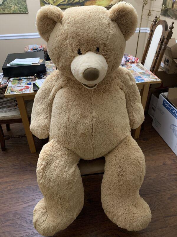 "Very Large Plush Teddy Bear by HugFun International 54"" Rare Open Smile - Huge!"