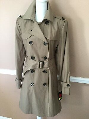 Gallery A New Women's Tan DB  Short Belted Trench Coat  Size XL