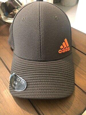 Adidas Stretch Fit Grey/Orange Men's Hat New S/M Size