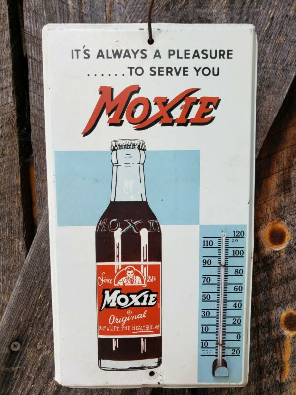 Rare 1950s Moxie Soda Thermometer. 12inx7in. Works!