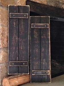 Handmade Primitive Country Rustic Distressed Black Shutters 24