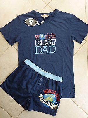 Peter Alexander size SMALL Summer PJ WORLD'S BEST DAD Navy Blue T Shirt & Short