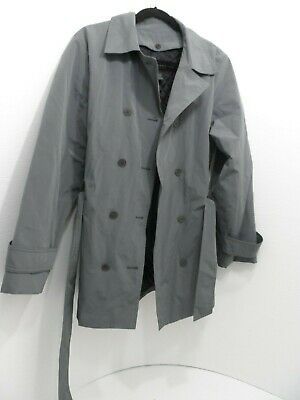 Express Womens Dbl Breasted Gray Knee Length Nylon/Polyester Lined Coat - Large Knee Length Nylon Coat