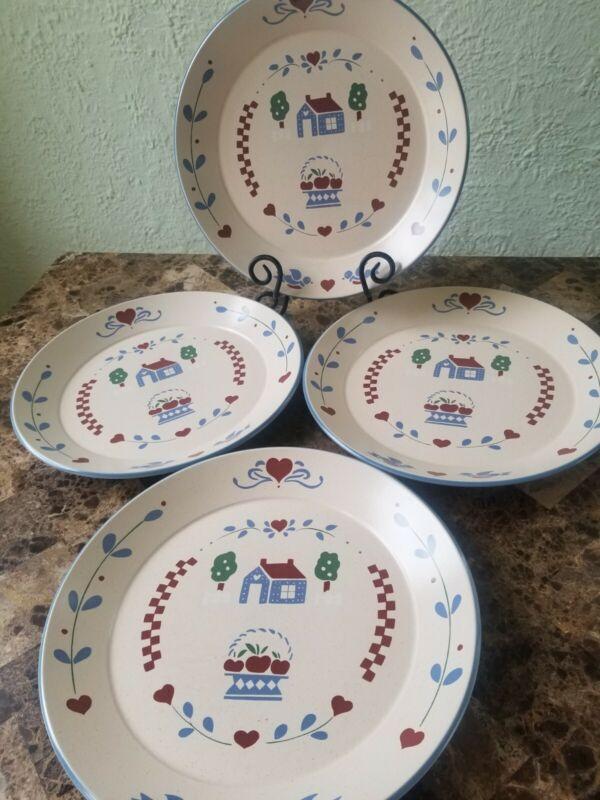 "International China Stoneware Habersham Country 4 Dinner Plates 11"" Japan"