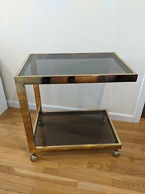 Vintage Brass & Glass Bar Cart /Serving Trolley 2-Tier  Milo Baughman MCM