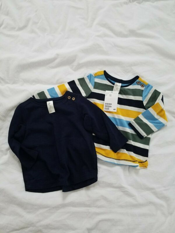 NWT Baby Boy Shirts H&M 3-6 Months Lot of 2 Tops Striped Tees