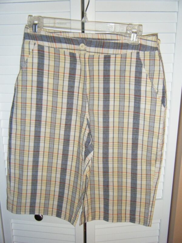 SARA STUDIO SIZE 6 YELLOW GREY TAN ORANGE PLAID SHORTS NEW