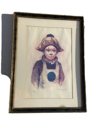 Philippe Alfieri Young Clown Signed Serigraph Print Framed Harlequin - $200.00