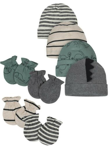 Gerber Organic Baby Boy Mittens and Caps Bundle, 8-Piece, Dinosaur, Newborn-0-3M