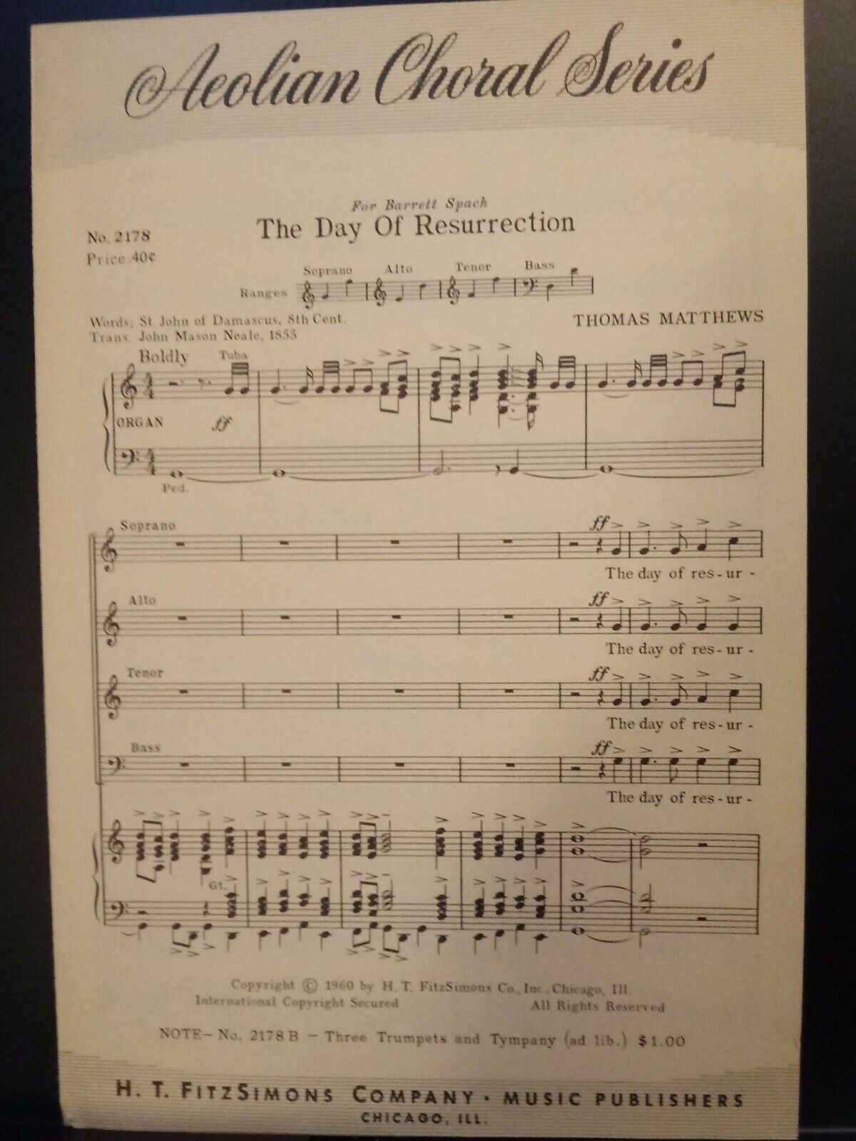 Church Choral Sheet Music Easter The Day Of Resurrection Matthews 10 Cop. SATB - $3.99