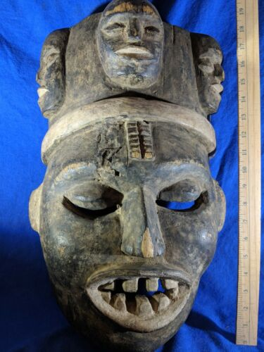 Very Large Mask with Bold Carved Details — Authentic Handmade Wood African Art