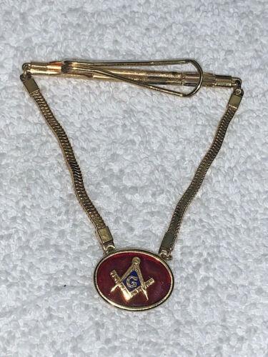 Vintage Tie Clasp Bar Clip Lodge Masonic Fraternity FreeMasonary Mason Oval Des