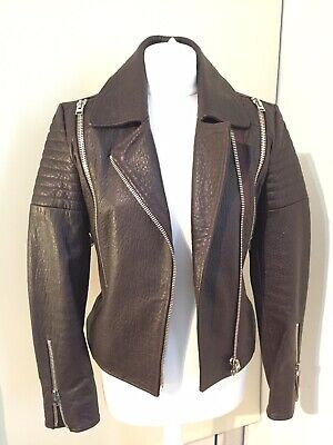Hotel Particulier brown lamb Leather biker Jacket WORN ONCE - Size S RRP £675