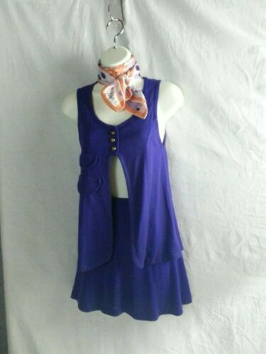 VTG 60s Child Girl 2 Piece Purple Mini Skirt Vest--Vera Scarf Hippy Mod Go-Go