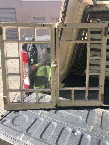 "vintage pair c1900 Queen Anne window frame casement pattern doors 26.25/16"""