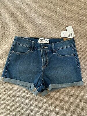 BNWT Girls Abercrombie & Fitch Blue Denim Shorts Age 13-14 Years RRP...