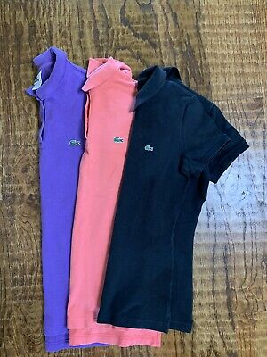 LACOSTE Women's Shortsleeve Lot of 3 Polo Shirts36 Black