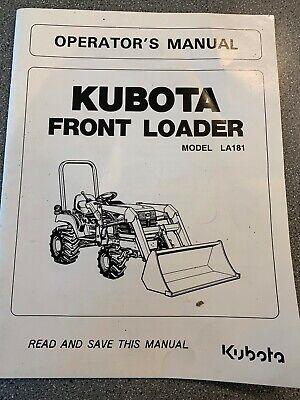 Kubota Model La181 Front Loader Operators Manual