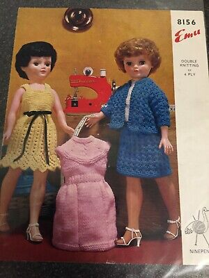 VINTAGE DOLLS CLOTHES KNITTING PATTERN ONLY TO DOLL 16 INCH