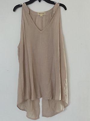 NEW  CLOTH & STONE BELLA DAHL Sz L SLEEVELESS SPLIT BACK HALTER IN NATURAL