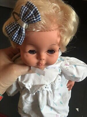 "Palitoy Tiny Tears Doll With Bright Blue Eyes ~ 16"" Vintage Vinyl Baby Doll"