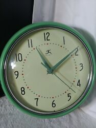 Infinity Instruments Green Retro 9.5-Inch Metal Wall Clock Excellent Condition