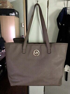 Michael Kors Large Jet Set Brown Taupe Handbag Tote Bag Purse Travel