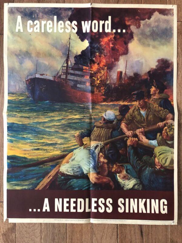 Original WWII A Careless Word...A Needless Sinking Poster War Bonds World