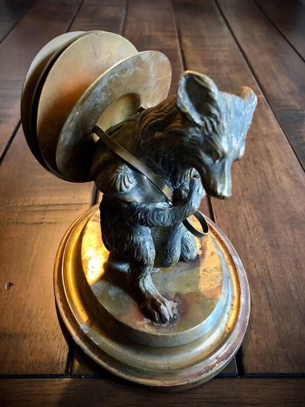 Wonderful & Rare Antique Bronze FOX Card Holder Late 1800s Early 1900s
