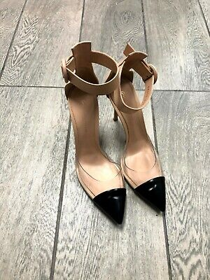GIANVITO ROSSI Nude & Black Leather ANAIS PLEXI Pumps Shoes 38.5