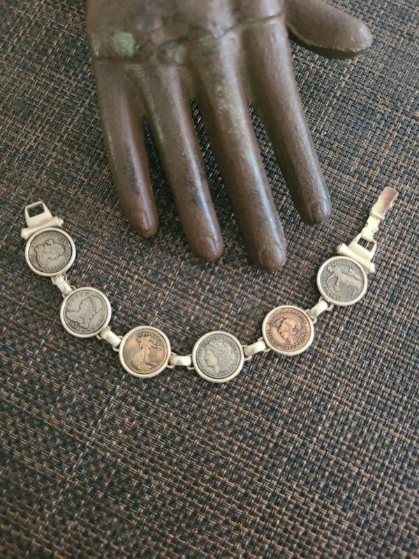 Liberty Coin Replica Tri Color Bracelet Sterling Silver 925 1796 1915 1933 1895