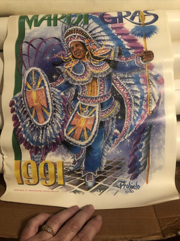 Vintage Frolich Colorful Mardi Gras Indian Chief Poster 1991 New Orleans-Exxon