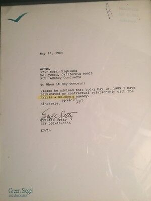 Estelle Getty Signed Agency Form
