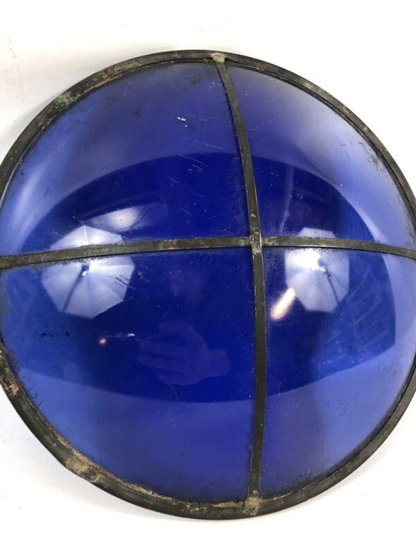 """Large Vintage Blue Glass Window? Ship? Marine? Copper frame Antique 11"""""""