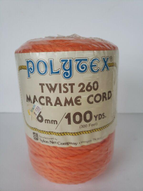 Vintage Polytex Macrame Braided Cord NEW NOS Orange 100 yards 6 mm