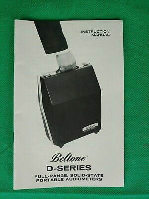 Beltone Audiometer. Instruction Manual For D Series Nice Condition