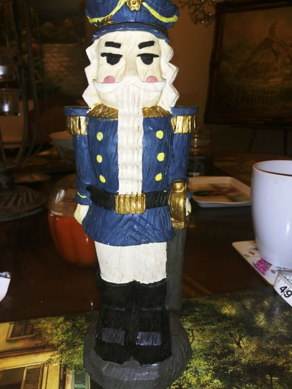 Vtg Heavy Solid Resin Wood Carving Like Sea  Captain Nutcracker 10 Inches VGC