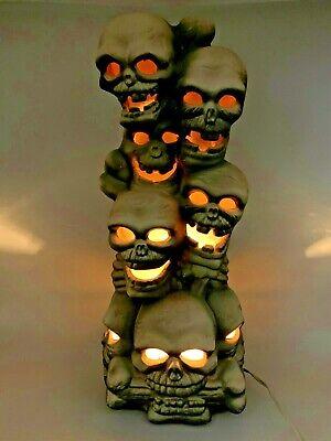 Trendmasters Skeleton Skull Totem Pole Vintage 1993 Lighted Halloween Blow Mold