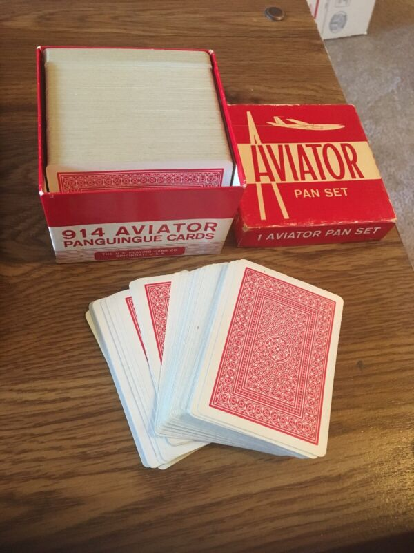 Vintage Pan Panguingue Playing Cards 914 Aviator  Set , Red