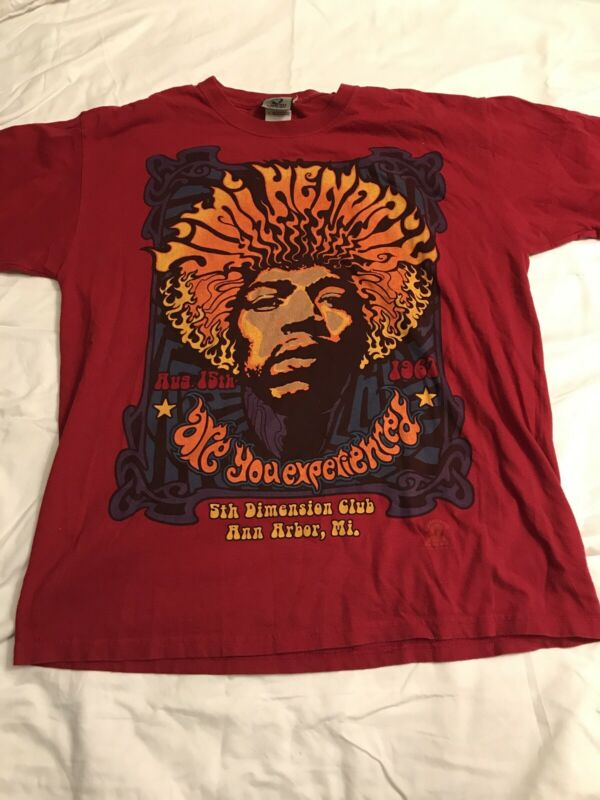 Jimi Hendrix 5th Dimension Ann Arbor, MI Liquid Blue Red Vintage Shirt Large