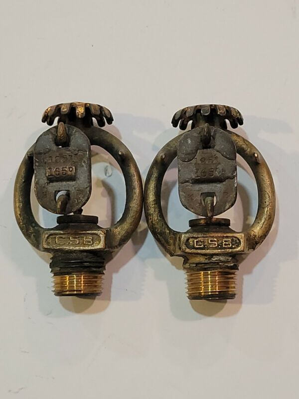 2 Fire sprinklers antique brass upright C.S.B. 1951 165 degree mdl A #33