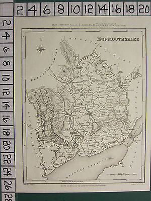 c1837 VICTORIAN MAP ~ MONMOUTHSHIRE ~ NEWPORT PONT-Y-POOL MONMOUYTH ABERGAVENNY