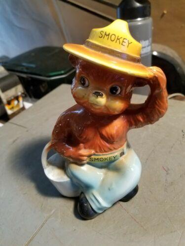 "Vintage Ceramic Figural Smokey The Bear Coin Piggy Bank 6-1/2"" Japan Made"