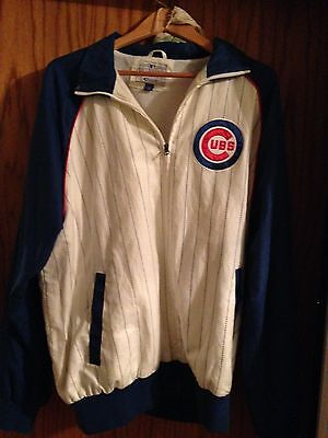 Chicago Cubs White Pinstripe Cotton Fall Jacket Large- G Sports Authentic