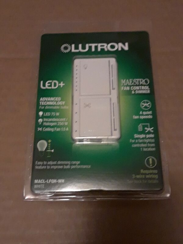 LUTRON FAN CONTROL & LED DIMMER MACL-LFQH-WH - NEW - SEALED