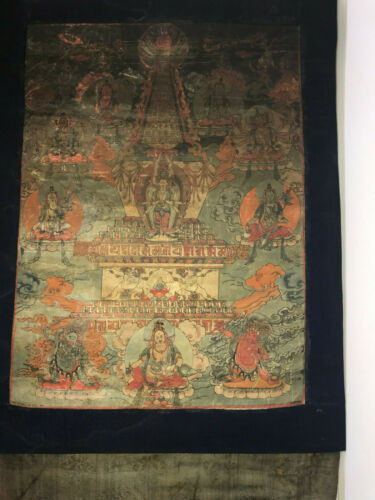 19th Century Mongolian woodblock printed Thangka on silk