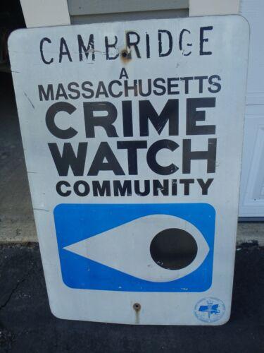 CAMBRIDGE MASSACHUSETTS POLICE DEPARTMENT Neighborhood CRIME WATCH SIGN 1970S