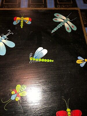 Vintage Wood Serving Tray Insects Dragonfly Bees Incredible! Hand Painted Butler